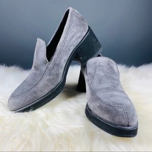 Hush Puppies Grey Suede Chunky Loafers 7.5
